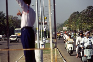 India - Chandigarh - Traffic on the planned, wide avenues of Cha