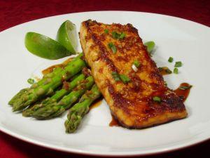 Honey-soy glazed salmon